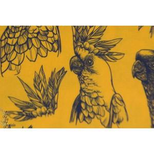 Viscose Oiseau Tropical Senf oiseau cacatoes peroquet jaune
