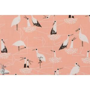 tissu coton Popeline Cigognes fond rose cotton steel mode femme couture  enfant fille oiseau
