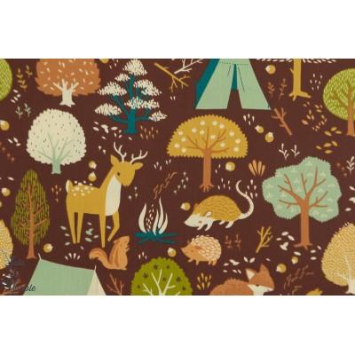 Popeline Bio Birch ''Critter Camp'' teagan nature animaux forêt