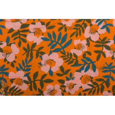 Rayon Nocturnal Cloud9 bio fleur viscose orange retro vintage