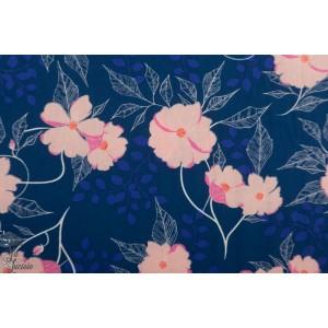 Popeline AGF Midnight Garden  fleur bleu flowerette