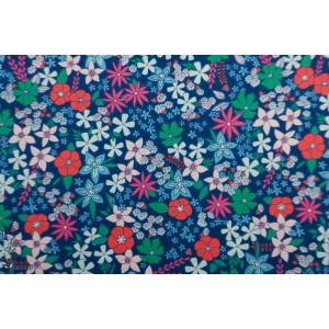 Popeline AGF Wildflower Fields - Flowerette fleur bleu