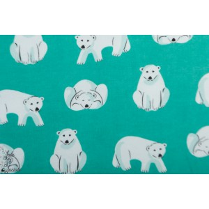 Flanelle Cloud9 polar bears Dark turquoise ours bio layette