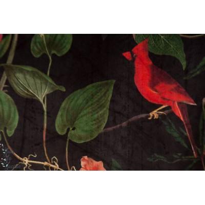 Velvet Basic Exotique velours décoration oiseau noir jungle