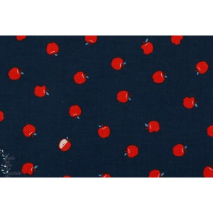 tissu coton Popeline Bluebird croque la pomme fond bleu marine  couture mode femme cotton steel