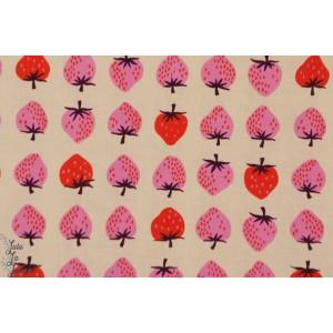 tissu coton Popeline Coton fraises couture mode fille femme enfant cotton steel rétro vintage cs
