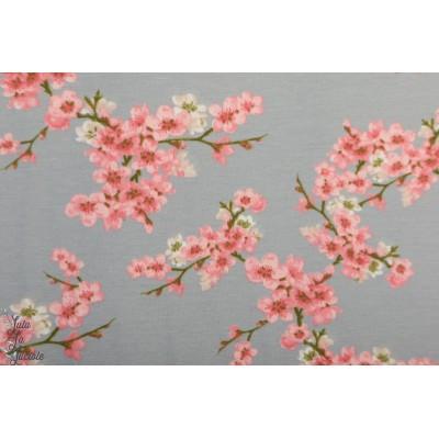 Sweat brosse Bio Poppy cherry Blossom fleur cerisier japon gris