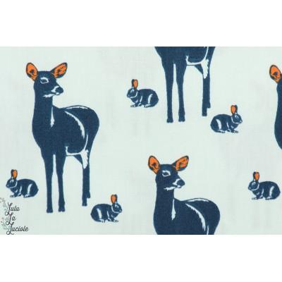 Popeline Bio Soft Cactus biches et lapins Oh Deer - M - Bleu Clair