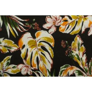 Viscose Rayon/ lin  Kokka fleurs Tropicales en noir