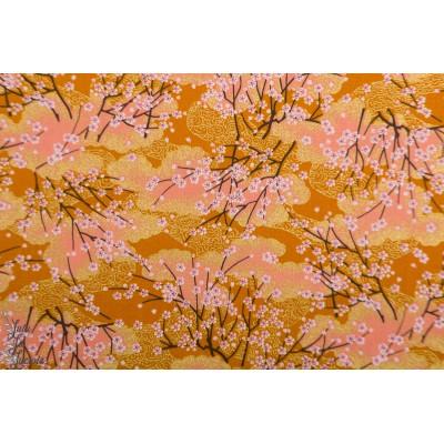 Popeline Sakura Bayashi orange jaune tissu japonais