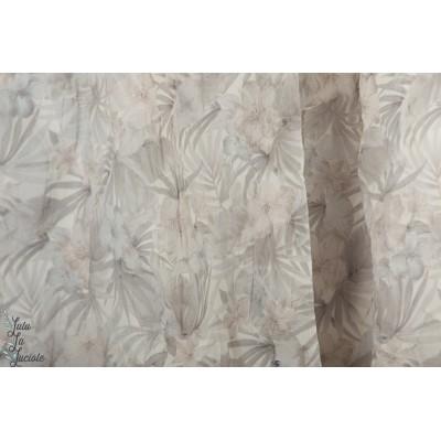 voile texturée fleur de sel gris hibiscus  kokka aérien mode femme