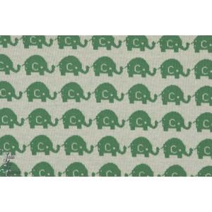 tissu Jacquard coton Bio Elephants Verts couture enfant vintage rétro bora pour lillestoff