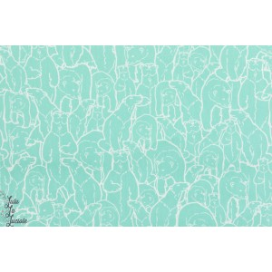 popeline coton bio Polar Party Turquoise