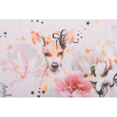 Jersey bio Fabelhalfe Lillestoff bambi romanique fille cygne  biche rose