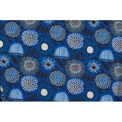 tissu viscose jersey  Modal Anémone fleur femme rétro bleu lillestoff