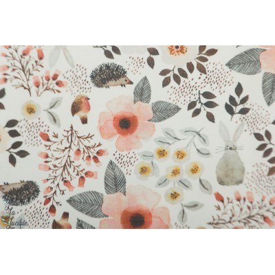 Jersey Hilco Romance Blossom fleurs et animaux
