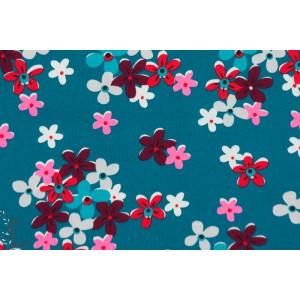 tissu coton Popeline Petit Pan CALAMITY Orage bleu pétrole fleur