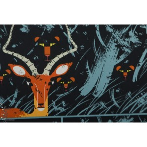 "Popeline Bio BIRCH '' Night Gazelle""""- Charly harper Collection  Halloween"