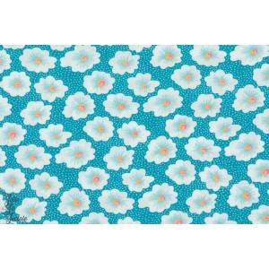 tissu coton Popeline Petit Pan OSAMI TURQUOISE bleu