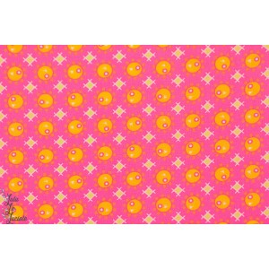 tissu coton Popeline Petit Pan PAMPLEMOUSSE rose orange