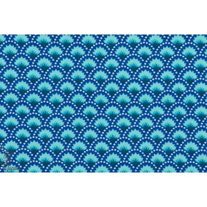 tissu coton gots Popeline Petit Pan WASABI BLEU géométrique japon