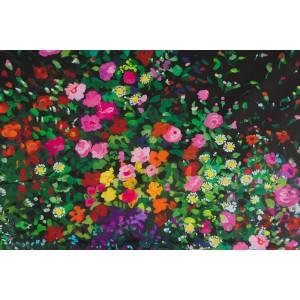Simple Bordure Michael Miller Bowers of Flowers Black