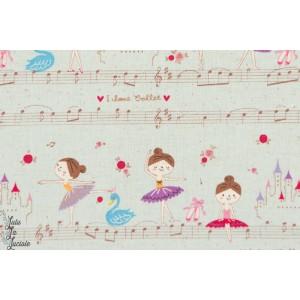 tissu coton Danseuse de ballet en bleu kokka