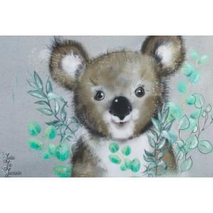 Panneau jersey bio Koala Lillestoff rayure vert animaux tante gisi
