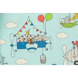 tissu Coton Lars Animaux volants Gulliver couture enfant