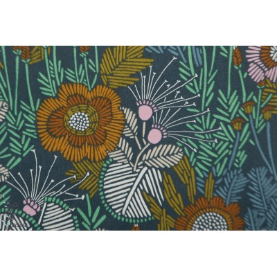 Popeline Bio Embroidered Floral From Grasslands by Sarah Watson Cloud8