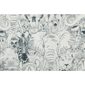 Popeline Bio Wild things gray From Grasslands by Sarah Watson Cloud8