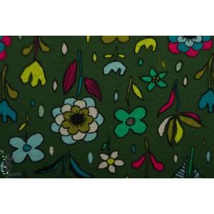sweat minky Fleurs vert foncé
