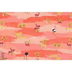 tissu coton Popeline Désert du Sahara corail blend animaux rouge orange