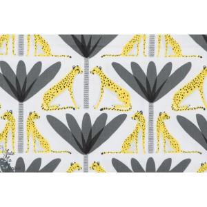 tissu coton Popeline Guépards et Palmiers noir sahara blend couture enfant