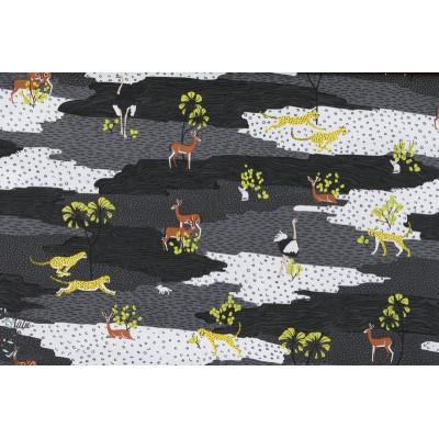 Tissu coton Popeline Désert du Sahara gris animaux guépard blend couture enfant