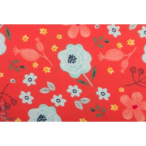 Popeline 3 Whishes Madison allover floral fleur rouge