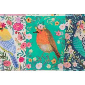 Popeline Blend Floral Pets Birdie portrait oiseau