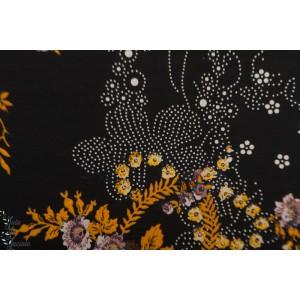 Jersey viscose Nacla Hilco fleur noir mode femme