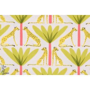 tissu coton Popeline Guépards et Palmiers verts blend sahara animaux