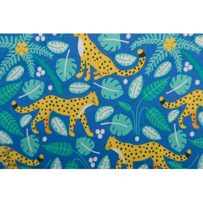 Popeline Bio the Tiny Garden Leopards Tropical Lush blue Nerida Hansen
