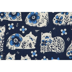 tissu coton Popeline SUSHI ANTIQUES NAVY chat bleu couture femme cotton steel