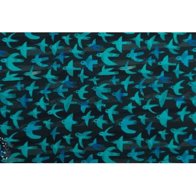 Popeline  Woodland Windham 52286D4 oiseua bleu graphique