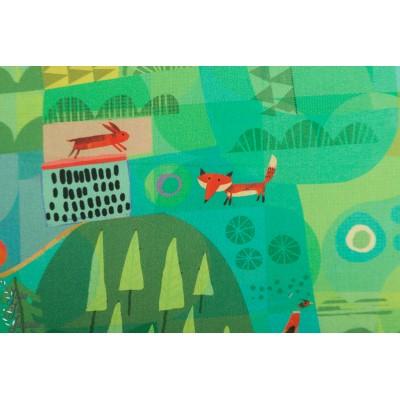 Popeline  Woodland Windham 52282d2 renard vert forêt