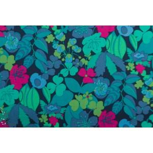 Popeline Solstice  Windham 51931-1 fleur bleu