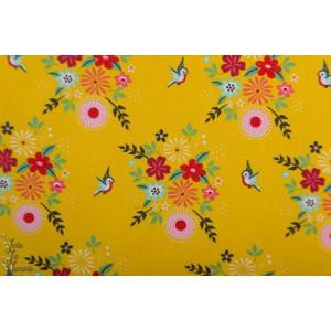 Popeline birdy flower jaune Fiona Hewitt