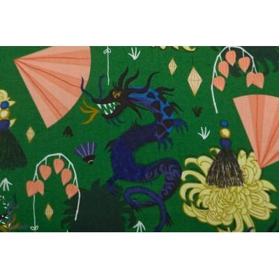 Popeline Bio SFierce green from Dragons & Lanterns - Cloud9