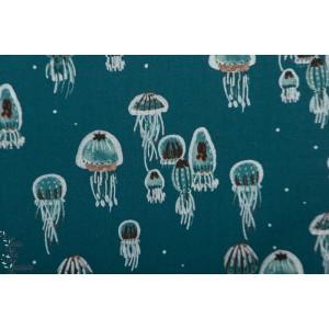 Popeline Kaikoura -Drifting Jellies - Ocean Pearlescent Fabric -Cotton and Steel
