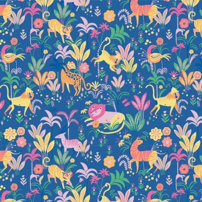 Tissu Popeline Earth and Dreams Katia fabric aniùaux jungle bleu