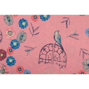 Jersey Viscose In the garden by Bienvenido Colorido Rose