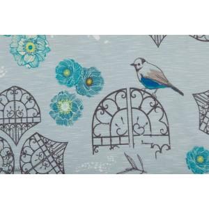 Jersey Viscose In the garden by Bienvenido Colorido bleu ciel